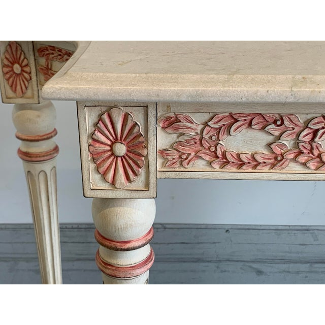 Beautiful reproduction, hand painted, carved wood, marble top console table. Excellent quality piece. The marble top is...