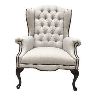 1970s Contemporary Queen Anne Oatmeal Linen Studded Wingback Chair