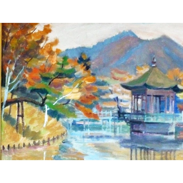 Mid-century Asian inspired impressionist painting by F. Honii. The colors in this painting are bold and evocative—they are...