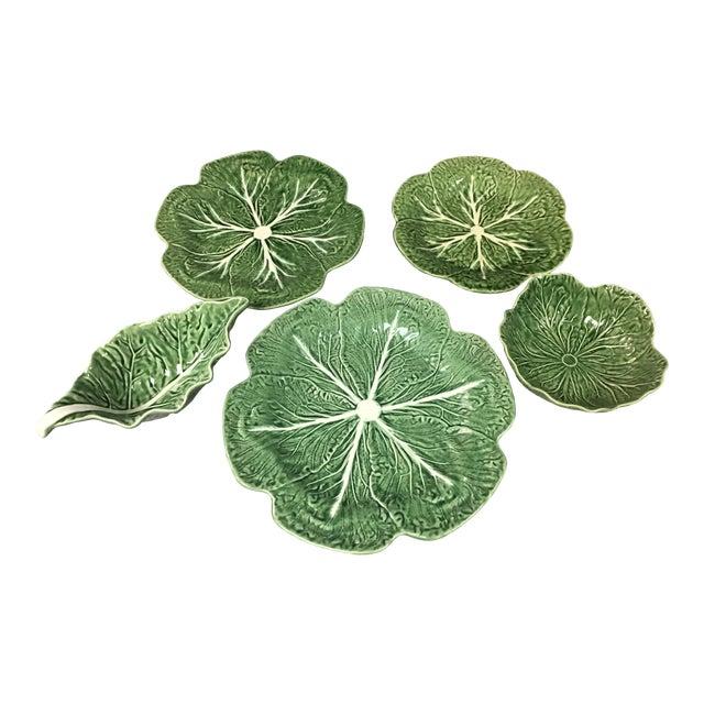 5 Vintage Pieces of Bordallo Pinheiro Cabbage Design For Sale