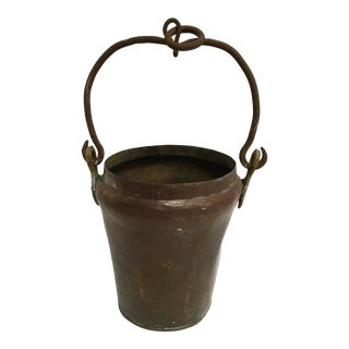 Antique Early 1900s Handcrafted Copper Hanging Pot