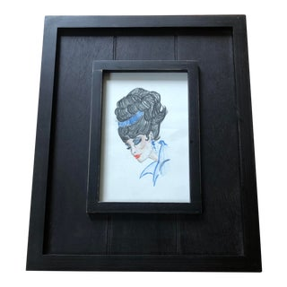 Mid-Century Modern Framed Original Sketch of Glamorous Woman with Bouffant Hairdo For Sale