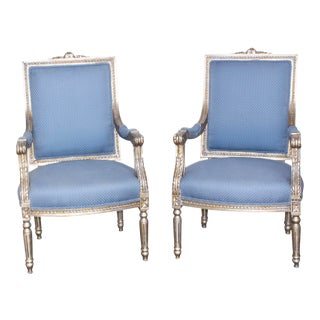 Vintage Mid Century French Italian Carved Gold Gilt Louis XVI Chairs- A Pair For Sale