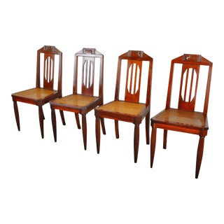 Antique Set of 4 French Art Nouveau Mahogany Dining Chairs W/ Cane Seats For Sale