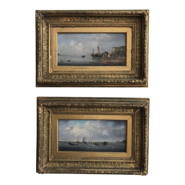 Late 19th Century Oil Seascape Paintings - a Pair For Sale