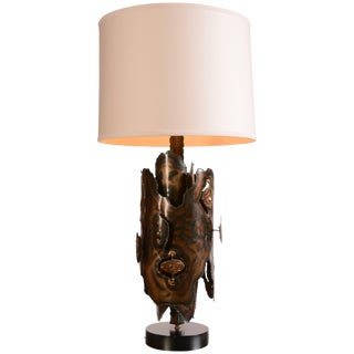 Tom Greene Style Brutalist Brass and Bronze Table Lamp For Sale