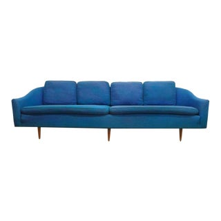 Mid Century Modern Milo Baughman Thayer Coggin Rich Blue Tweed Long Gondola Sofa For Sale