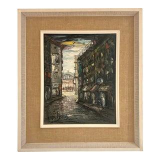 Vintage Original Cityscape Signed Oil on Canvas For Sale