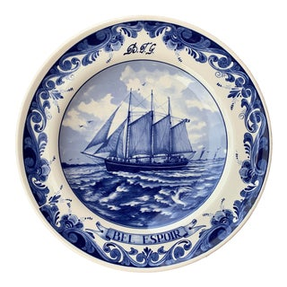 Vintage Blue & White Delft Tall Ship Plate For Sale