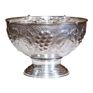 Mid-20th Century French Brass Silver Plated Repousse Champagne or Wine Cooler For Sale