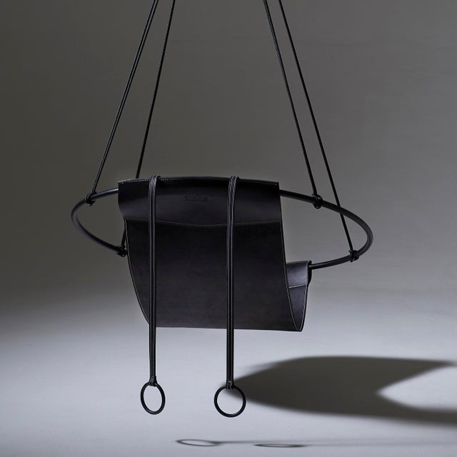 Contemporary Sling Hanging Chair - Black Leather For Sale - Image 3 of 9