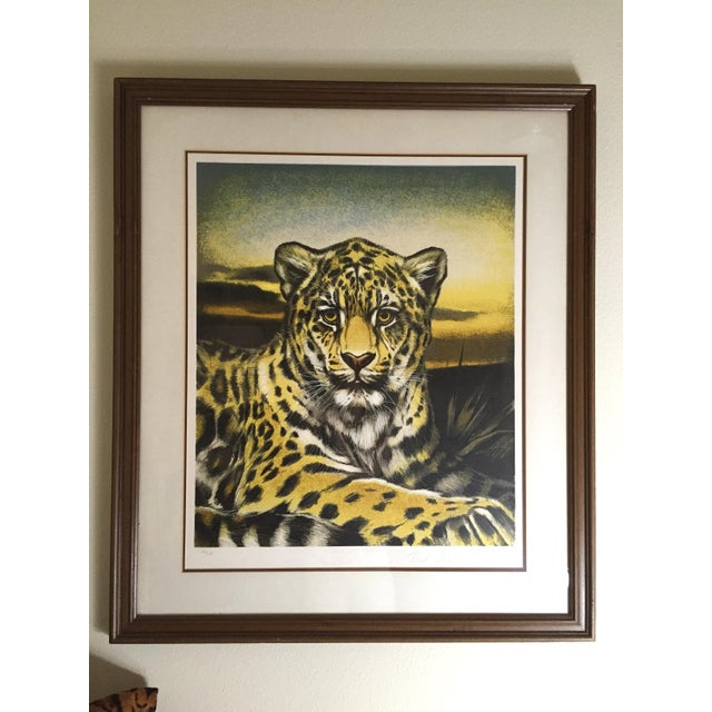 A superb and magnetic original lithograph on archival paper of the South American jaguar by noted artist, Martin Gilbert...