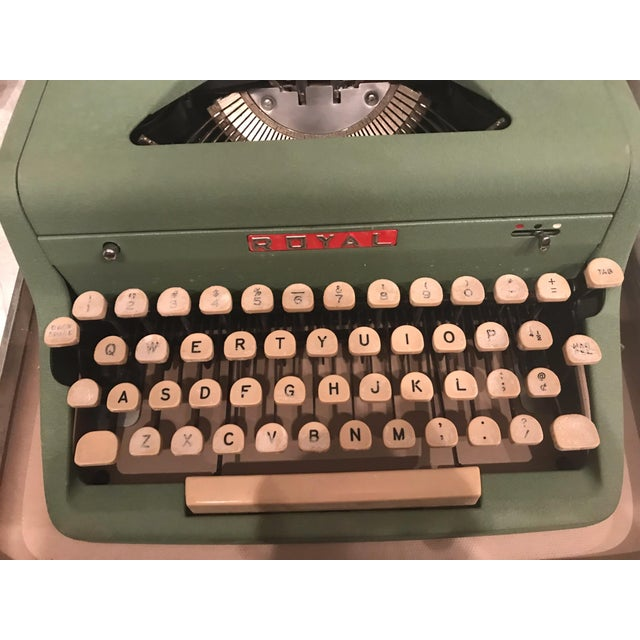 Mid-Century Modern Green Royal Typewriter & Case - Image 2 of 5