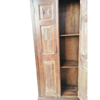 Antique Armoire Rustic Hand Carved Cabinet Eclectic Preview