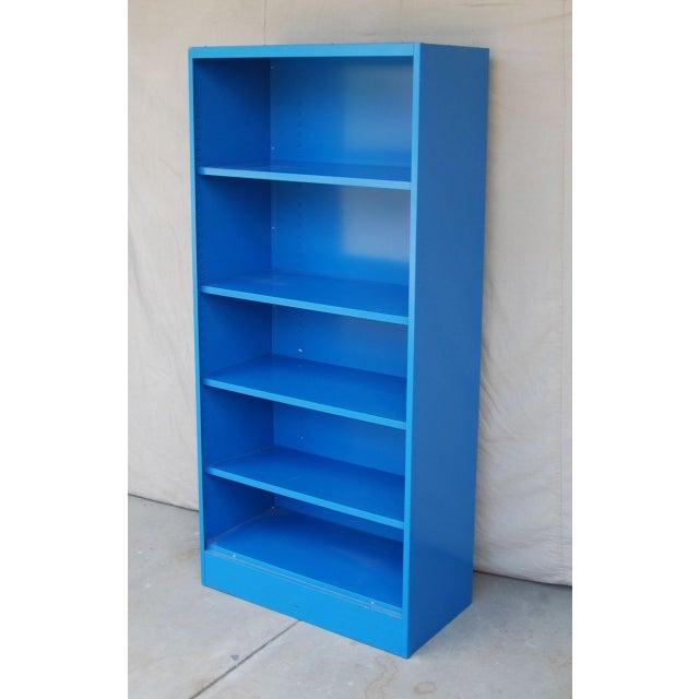 Blue Vintage Metal Bookcase - Image 4 of 5