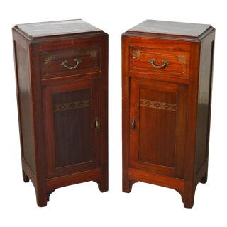 Austrian Arts & Crafts Antique Mahogany Marble Top Nightstands - A Pair