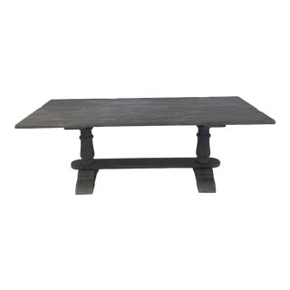 French Long Gray Washed Trestle Table For Sale