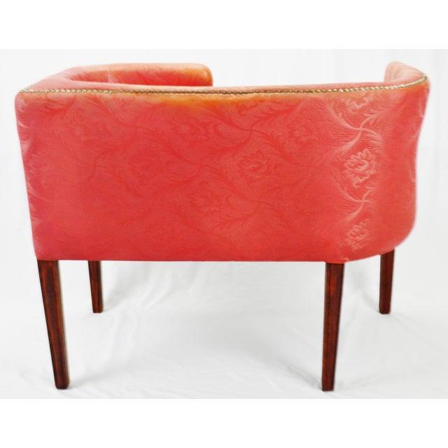 Plastic Vintage Red Jacquard Vinyl Barrel Back Gossip Bench Telephone Chair Hall Bench For Sale - Image 7 of 13
