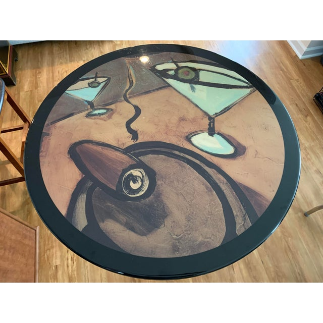 Mid 20th Century Vintage Mid Century Modern Painted Metal Pedestal Cafe Table For Sale - Image 5 of 9