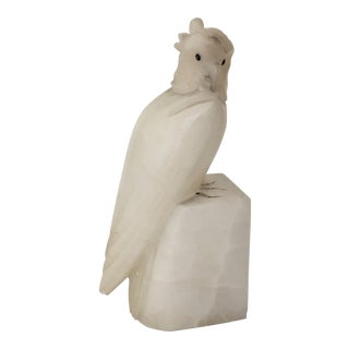 1920s Art Deco Alabaster Hand Carved Bird Bookend For Sale