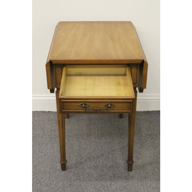 Brown 20th Century Traditional Columbia Manufacturing Mahogany Pembroke End Table For Sale - Image 8 of 13