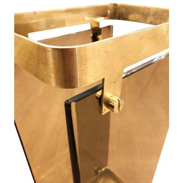 Fontana Arte Fontana Arte Brass Umbrella Stand With Smoked Glass For Sale - Image 4 of 7