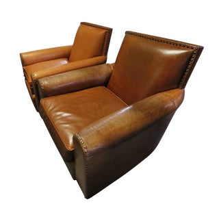 20th Century Contemporary Leather Armchairs - a Pair