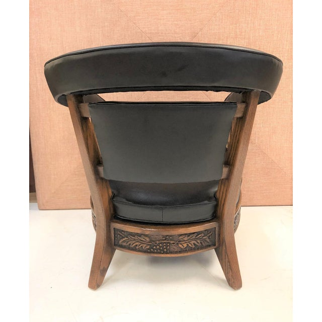 Romweber Pair of Romweber Carved Oak Lounge Chairs For Sale - Image 4 of 8
