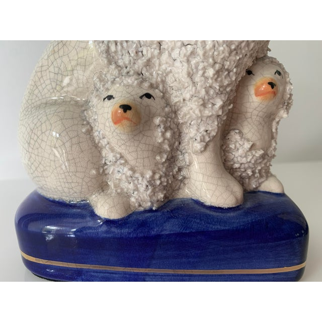 White Vintage Staffordshire Poodles With Pups - a Pair For Sale - Image 8 of 11