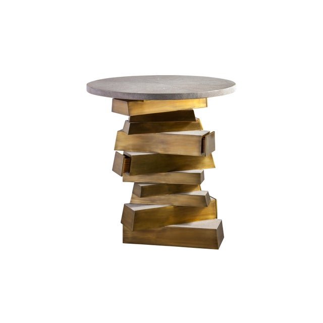 Brutalist Bullion Confection Shagreen Side Table For Sale - Image 3 of 3
