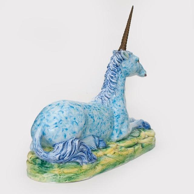 Vintage Italian Mottahedeh Ceramic & Brass Unicorn Sculpture For Sale In Dallas - Image 6 of 13