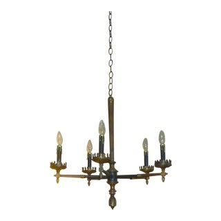 Black Vintage Tole Empire 5 Light Chandelier For Sale