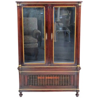 Directoire Style Bookcase With Faux Leather Book Spine Base