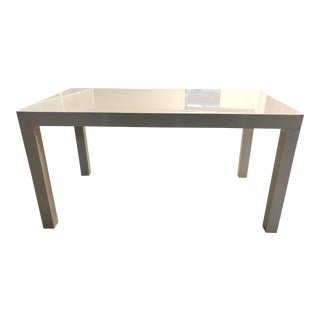 West Elm White Parsons Table For Sale