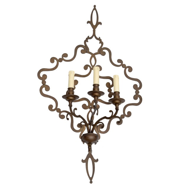 Italian Wrought Iron Applique, Wall Sconce - Image 2 of 5