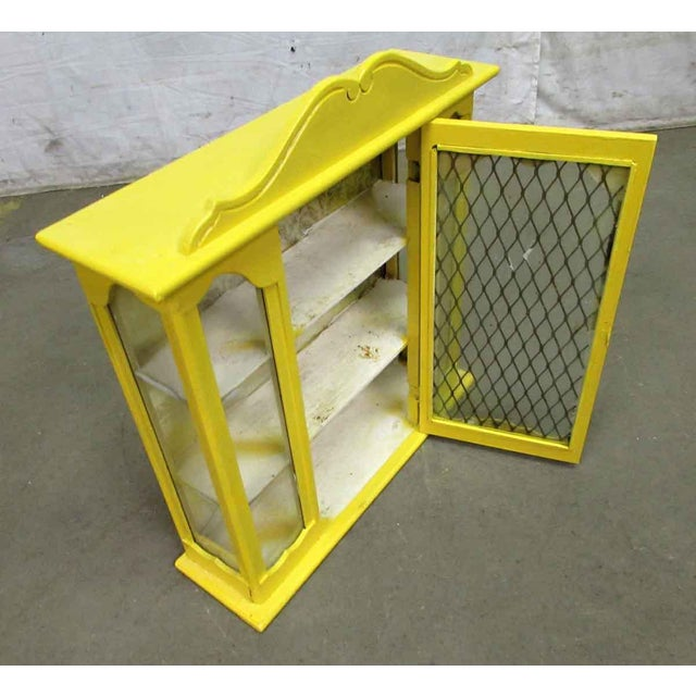 Yellow Painted Curio Cabinet For Sale - Image 4 of 8