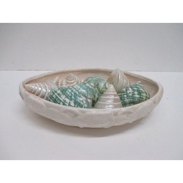 Oval Ceramic Dish with Assorted Six Capiz Shells In White and Green Size: 11 x 7 x 2.5