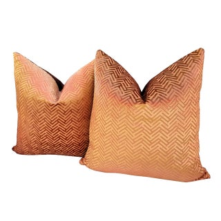 Gold Velvet Herringbone Pillows - A Pair For Sale