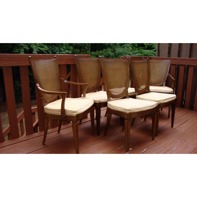 Thomasville Italian Cane Brass Dining Chairs - 6 - Image 4 of 11
