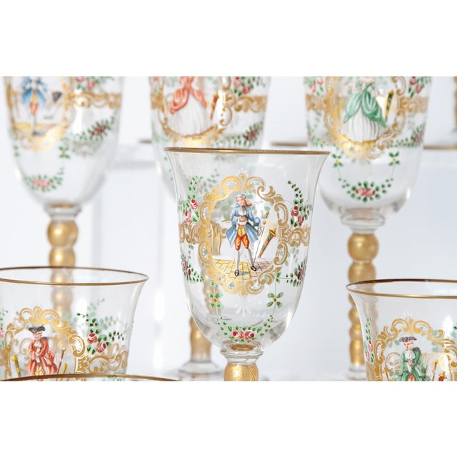 Enameled Venetian Glass Stemware / 23 Piece Group For Sale - Image 9 of 12