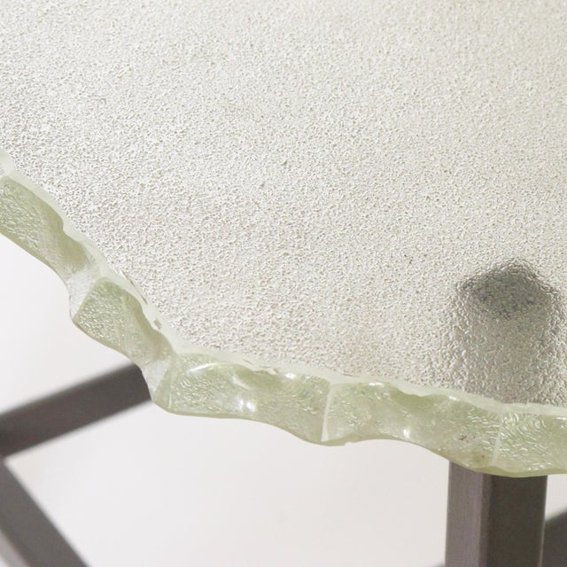 Fontana Arte Style 1960s Italian Glass Slab and Metal Coffee or Cocktail Table For Sale In Atlanta - Image 6 of 10