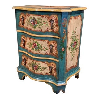 Mid-20th Century Venetian Serpentine Chest of Drawers With Painted Floral Decor For Sale