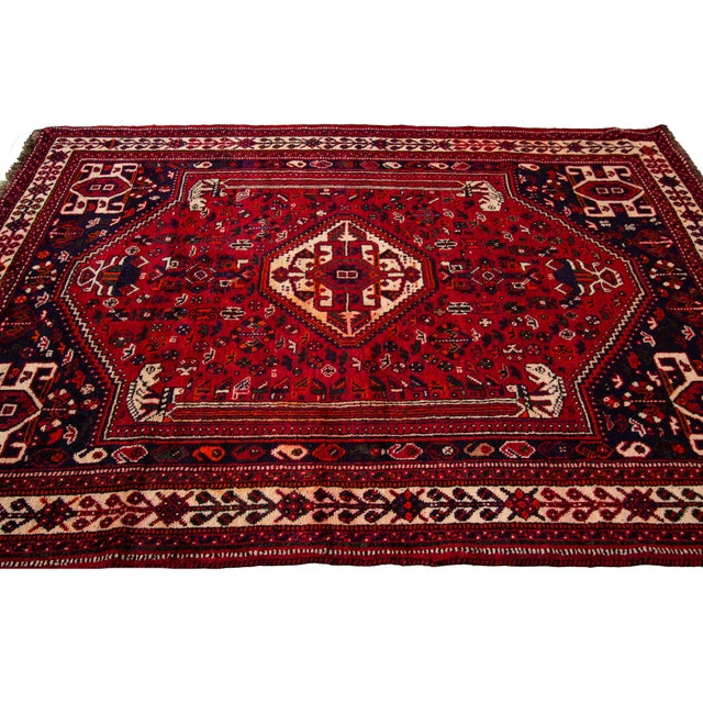 """Red Vintage Persian Shiraz Rug, 5'10"""" X 8'7"""" For Sale - Image 8 of 9"""