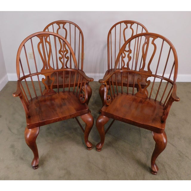High Quality American Made Set of 4 Solid Cherry Wood Windsor Dining Chairs by Lexington and Part of the Bob Timberlake...