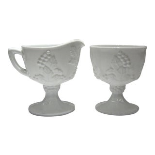Vintage Mid-Century Milk Glass Cream & Sugar Service - a Pair For Sale