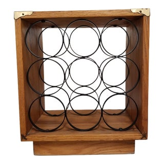 Mid Century Maple Campaign 9 Bottle Wine Rack For Sale