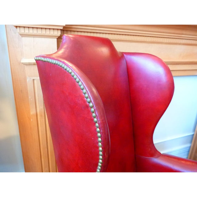 Vintage Red Leather Wingback Chairs With Nailhead Detail and Generous Proportions- Pair For Sale - Image 10 of 13