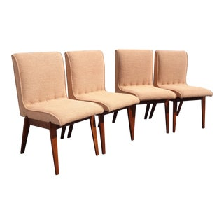 Vintage Set of Four Mid Century Modern Walnut Tufted Chairs Milo Baughman Style For Sale