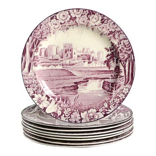 Wood & Sons Castles Purple Apppetizer Plate - Set of 8 For Sale