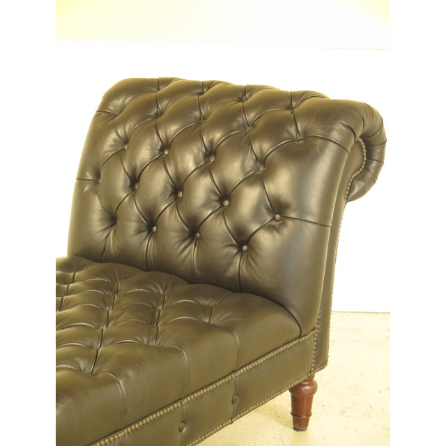 Henredon Tufted Dark Brown Leather Chaise Lounge